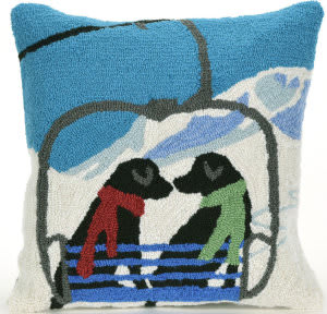 Trans-Ocean Frontporch Pillow Ski Lift Love 1842/11 Winter