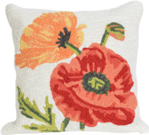 Trans-Ocean Frontporch Pillow Icelandic Poppies 2272/12 Neutral
