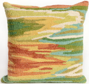Trans-Ocean Frontporch Pillow Watercolor 4237/06 Green Area Rug