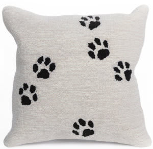 Trans-Ocean Frontporch Pillow Paw Prints 4269/12 Natural