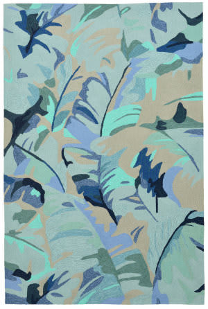 Trans-Ocean Capri Palm Leaf 1668/03 Blue Area Rug