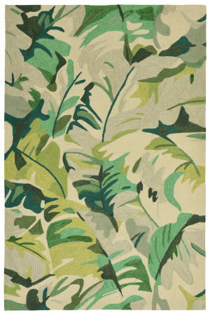 Trans-Ocean Capri Palm Leaf 1668/06 Green Area Rug
