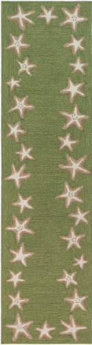Trans-Ocean Capri Starfish Border 1710/06 Green Area Rug