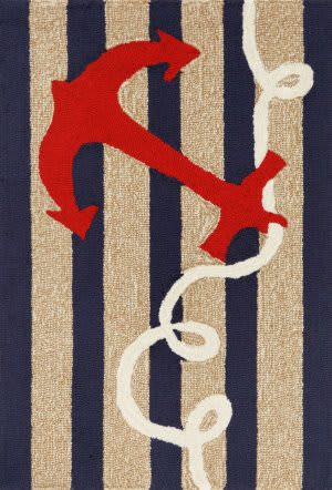 Trans-Ocean Frontporch Anchor 1400/33 Navy Area Rug