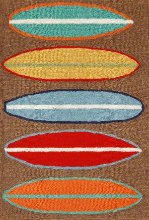 Trans-Ocean Frontporch Surfboards 1406/19 Brown Area Rug