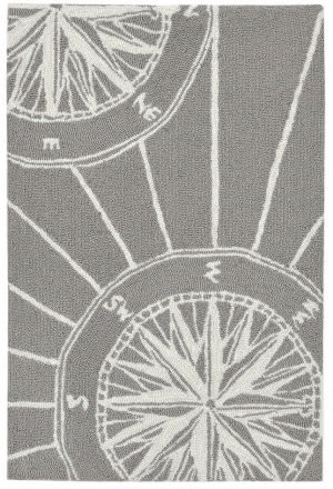 Trans-Ocean Frontporch Compass 1447/47 Grey Area Rug