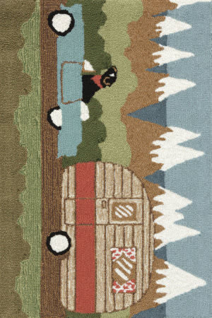 Trans-Ocean Frontporch Camping Dog 1469/06 Green Area Rug
