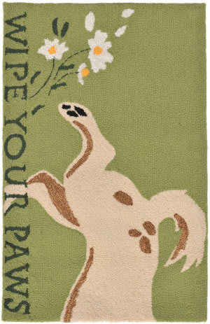Trans-Ocean Frontporch Wipe Your Paws 1522/06 Green Area Rug