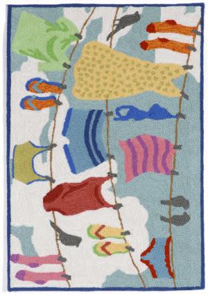 Trans-Ocean Frontporch Clothes Line 1542/44 Multi Area Rug