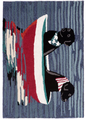 Trans-Ocean Frontporch Stars Stripes And Labs 1548/03 Water Area Rug
