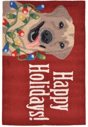 Trans-Ocean Frontporch Happy Holidays 1561/24 Red Area Rug
