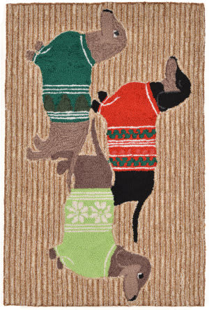 Trans-Ocean Frontporch Holiday Hounds 1566/12 Neutral Area Rug