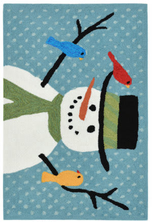 Trans-Ocean Frontporch Snowman And Friends 1865/03 Blue Area Rug
