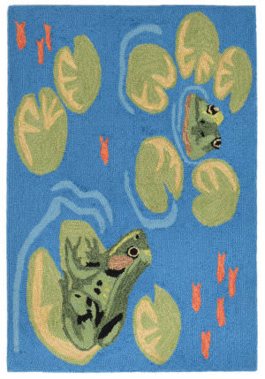 Trans-Ocean Frontporch Frogs 2043/06 Green Area Rug