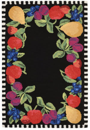 Trans-Ocean Frontporch Fruits 2409/48 Black Area Rug