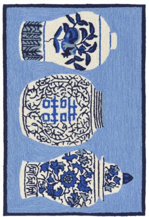 Trans-Ocean Frontporch Ginger Jars 2410/03 Blue Area Rug