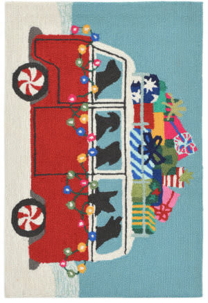 Trans-Ocean Frontporch Happy Howlidays 2427/24 Red Area Rug