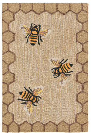 Trans-Ocean Frontporch Honeycomb Bee 2432/12 Natural Area Rug