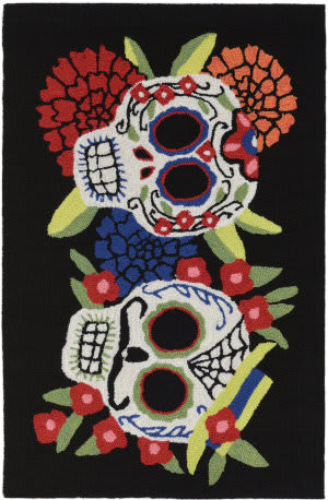 Trans-Ocean Frontporch Mr.and Mrs. Muerto 4274/48 Black Area Rug