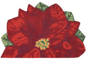 Trans-Ocean Frontporch Poinsettia 2411/24 Red Area Rug