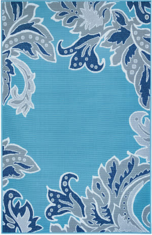 Trans-Ocean Riviera Ornamental Leaf 7648/03 Blue Area Rug