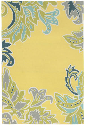 Trans-Ocean Ravella Ornamental Leaf Border 1947/09 Yellow Area Rug