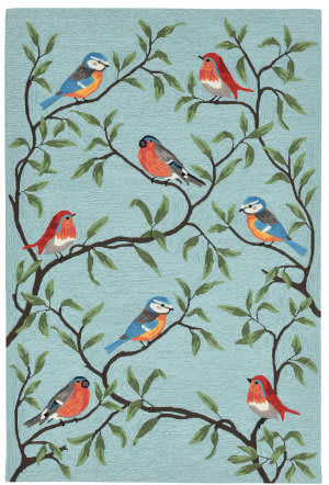 Trans-Ocean Ravella Birds On Branches 2270/04 Aqua Area Rug
