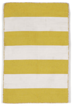 Trans-Ocean Sorrento Rugby Stripe Yellow Area Rug