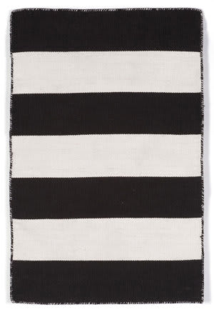 Trans-Ocean Sorrento Rugby Stripe Black Area Rug