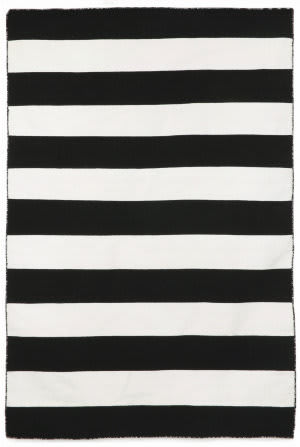 Trans-Ocean Sorrento Rugby Stripe 6302/48 Black Area Rug