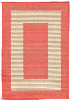 Trans-Ocean Tulum Border Orange Area Rug
