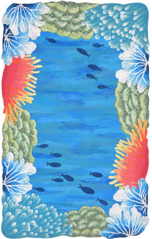 Trans-Ocean Visions Iv Reef Border 4137/03 Blue Area Rug