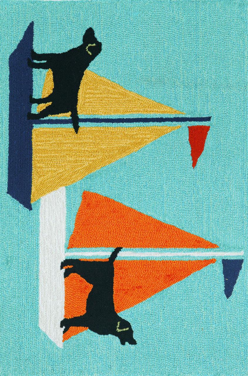 Trans Ocean Frontporch Sailing Dog 140203 Blue Rug Studio