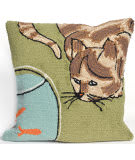 Trans-Ocean Frontporch Pillow Curious Cat 1430/06 Green Area Rug