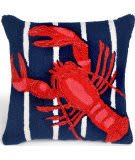 Trans-Ocean Frontporch Pillow Lobster On Stripes 1595/33 Navy
