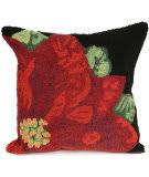 Trans-Ocean Frontporch Pillow Poinsettia 2046/48 Black