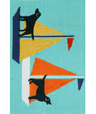 Trans-Ocean Frontporch Sailing Dog 1402/03 Blue Area Rug