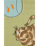 Trans-Ocean Frontporch Curious Cat 1430/06 Green Area Rug