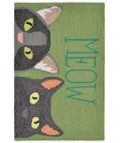 Trans-Ocean Frontporch Meow 1821/06 Green Area Rug