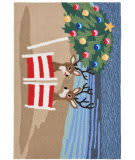 Trans-Ocean Frontporch Coastal Christmas 1854/44 Multi Area Rug
