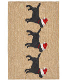 Trans-Ocean Frontporch 3 Dogs Christmas 1857/12 Neutral Area Rug
