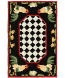 Trans-Ocean Frontporch Rooster 2408/48 Black Area Rug