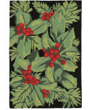 Trans-Ocean Frontporch Hollyberries 2419/48 Black Area Rug