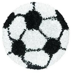 The Rug Market America Kids Shaggy Raggy Soccer Ball 02253 Black/white Area Rug