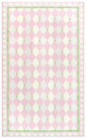 The Rug Market America Kids Harlequin Pink 11479 Pink/green/ivory Area Rug