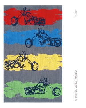 The Rug Market America Kids Motocross 11767 Grey/blue/red Area Rug