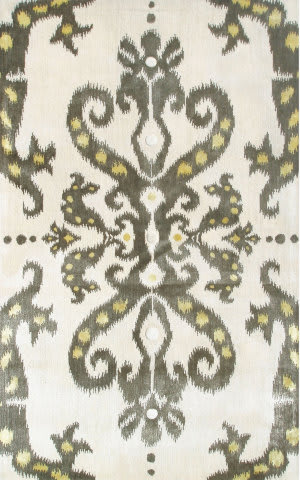 The Rug Market America Julia Wong Designs Ethnic Damask Cream/Gray/Yellow Area Rug