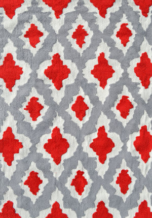 The Rug Market America Pop Accents Ethnic Red/Grey/White Area Rug