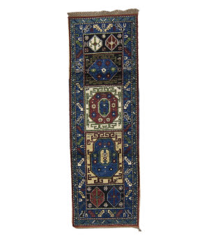 Tufenkian Knotted Royal Blue 3' x 8' Runner Rug