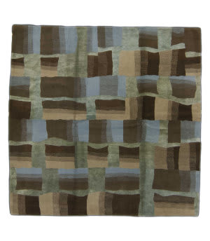 Tufenkian Knotted Brown Multi 7' Square Rug
